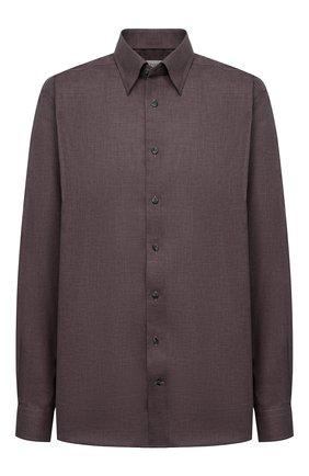 Мужская хлопковая сорочка ETON коричневого цвета, арт. 1000 01747 | Фото 1 (Случай: Формальный; Стили: Классический; Рубашки М: Regular Fit; Манжеты: На пуговицах; Рукава: Длинные; Принт: Однотонные; Материал внешний: Хлопок; Воротник: Кент; Длина (для топов): Удлиненные)
