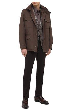 Мужская хлопковая сорочка ETON коричневого цвета, арт. 1000 01747 | Фото 2 (Случай: Формальный; Стили: Классический; Рубашки М: Regular Fit; Манжеты: На пуговицах; Рукава: Длинные; Принт: Однотонные; Материал внешний: Хлопок; Воротник: Кент; Длина (для топов): Удлиненные)