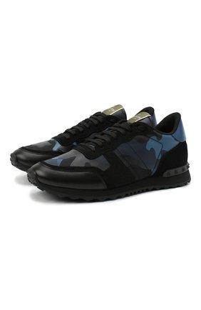 Мужские комбинированные кроссовки rockrunner valentino garavani VALENTINO синего цвета, арт. VY2S0723/TCC | Фото 1