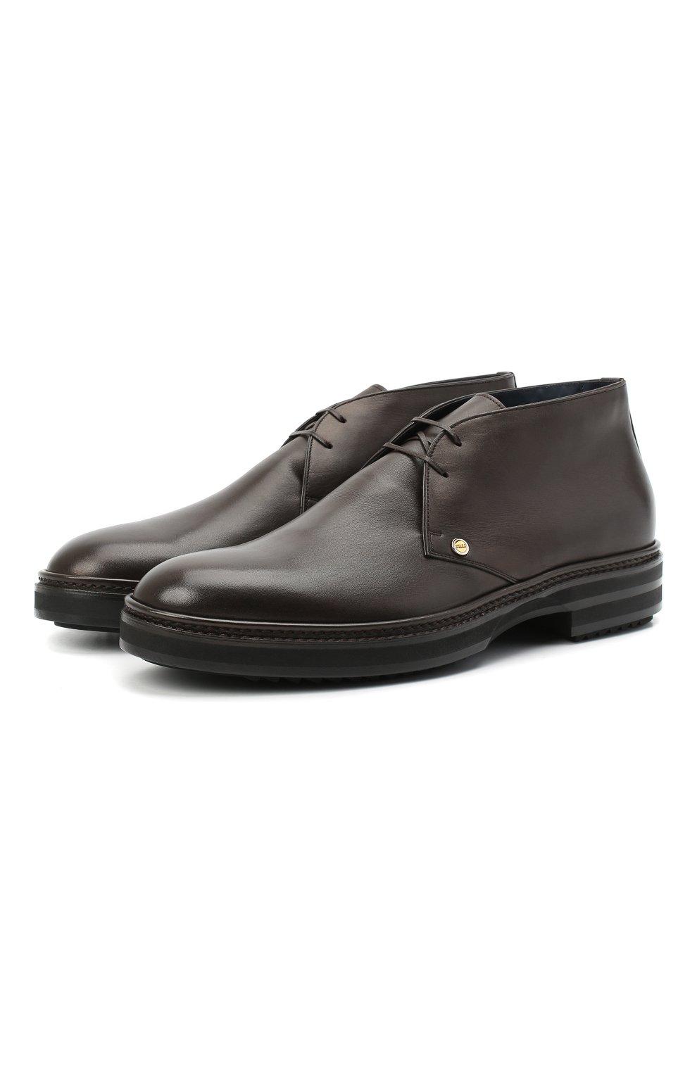 Мужские кожаные ботинки ZILLI коричневого цвета, арт. MDU-A095/005 | Фото 1 (Мужское Кросс-КТ: Ботинки-обувь, Дезерты-обувь; Материал внутренний: Текстиль; Подошва: Массивная)