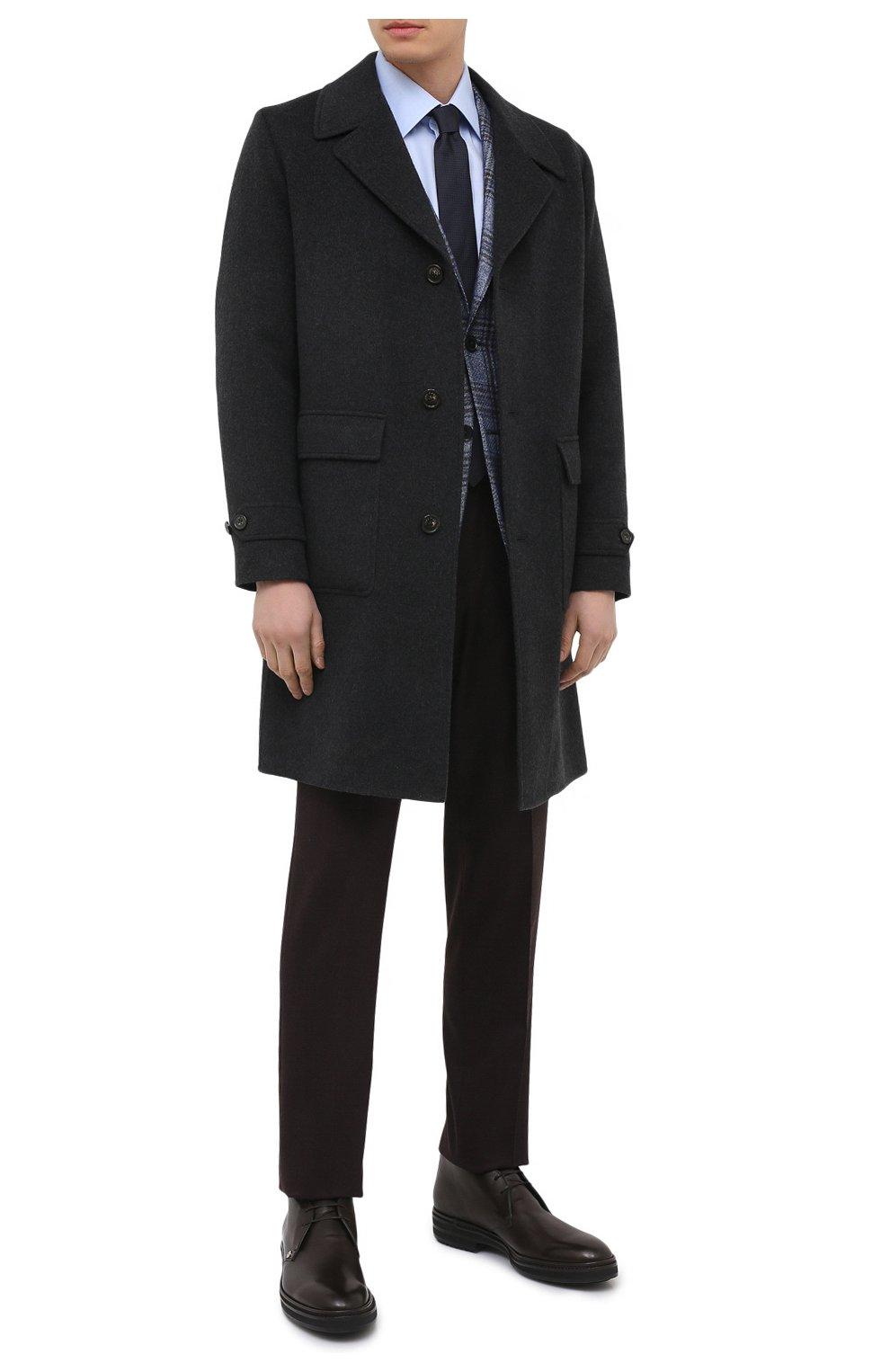 Мужские кожаные ботинки ZILLI коричневого цвета, арт. MDU-A095/005 | Фото 2 (Мужское Кросс-КТ: Ботинки-обувь, Дезерты-обувь; Материал внутренний: Текстиль; Подошва: Массивная)