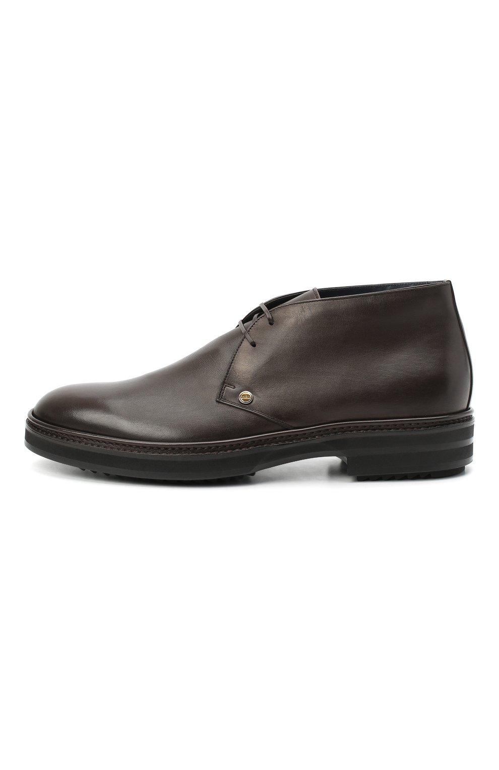 Мужские кожаные ботинки ZILLI коричневого цвета, арт. MDU-A095/005 | Фото 3 (Мужское Кросс-КТ: Ботинки-обувь, Дезерты-обувь; Материал внутренний: Текстиль; Подошва: Массивная)