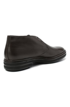 Мужские кожаные ботинки ZILLI коричневого цвета, арт. MDU-A095/005 | Фото 4 (Мужское Кросс-КТ: Ботинки-обувь, Дезерты-обувь; Материал внутренний: Текстиль; Подошва: Массивная)
