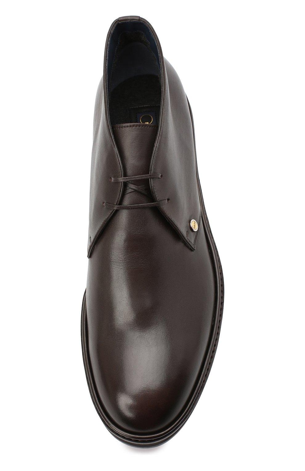 Мужские кожаные ботинки ZILLI коричневого цвета, арт. MDU-A095/005 | Фото 5 (Мужское Кросс-КТ: Ботинки-обувь, Дезерты-обувь; Материал внутренний: Текстиль; Подошва: Массивная)
