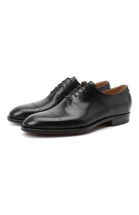 Мужские кожаные оксфорды KITON черного цвета, арт. USSREALN00101   Фото 1