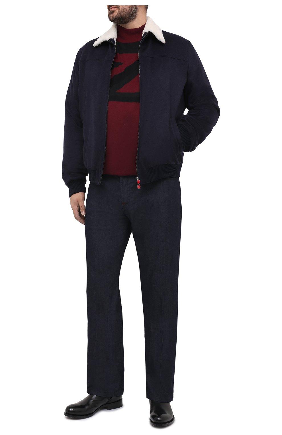 Мужской кашемировый бомбер с меховой подкладкой KITON темно-синего цвета, арт. UW0910MV03T83/60-68   Фото 2