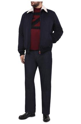 Мужской кашемировый бомбер с меховой подкладкой KITON темно-синего цвета, арт. UW0910MV03T83/60-68 | Фото 2