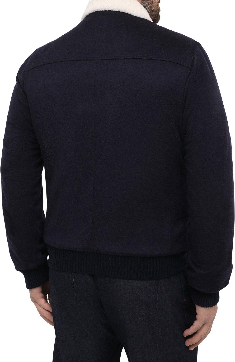 Мужской кашемировый бомбер с меховой подкладкой KITON темно-синего цвета, арт. UW0910MV03T83/60-68   Фото 4