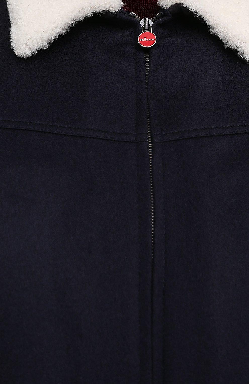 Мужской кашемировый бомбер с меховой подкладкой KITON темно-синего цвета, арт. UW0910MV03T83/60-68   Фото 5