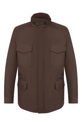 Мужская куртка traveller LORO PIANA коричневого цвета, арт. FAI1437 | Фото 1 (Рукава: Длинные; Кросс-КТ: Ветровка, Куртка; Стили: Кэжуэл; Материал утеплителя: Шерсть; Материал внешний: Синтетический материал; Длина (верхняя одежда): До середины бедра)
