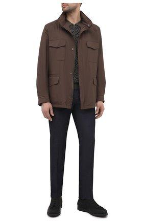 Мужская куртка traveller LORO PIANA коричневого цвета, арт. FAI1437 | Фото 2 (Рукава: Длинные; Кросс-КТ: Ветровка, Куртка; Стили: Кэжуэл; Материал утеплителя: Шерсть; Материал внешний: Синтетический материал; Длина (верхняя одежда): До середины бедра)