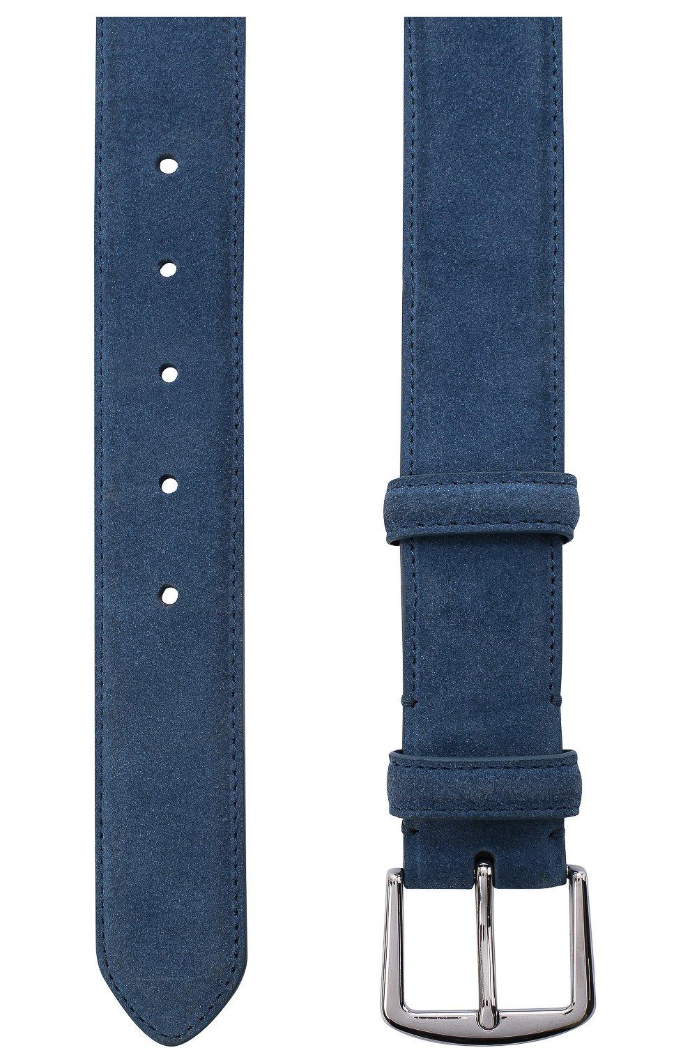 Мужской замшевый ремень LORO PIANA синего цвета, арт. FAA1544 | Фото 3 (Случай: Повседневный)