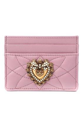 Женский кожаный футляр для кредитных карт DOLCE & GABBANA светло-розового цвета, арт. BI0330/AV967 | Фото 1