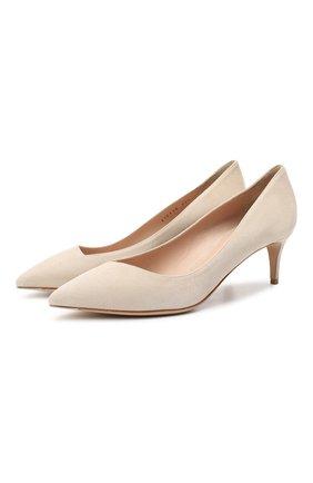 Женские замшевые туфли GIORGIO ARMANI бежевого цвета, арт. X1E718/XC067 | Фото 1 (Каблук тип: Kitten heel; Подошва: Плоская; Материал внутренний: Натуральная кожа; Каблук высота: Низкий; Материал внешний: Замша)