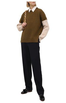 Женский свитер LOEWE хаки цвета, арт. S817Y14K57 | Фото 2 (Материал внешний: Шерсть, Синтетический материал; Женское Кросс-КТ: Свитер-одежда; Рукава: Длинные; Стили: Кэжуэл; Длина (для топов): Стандартные)