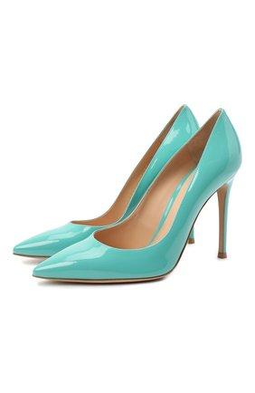 Женские кожаные туфли gianvito 105 GIANVITO ROSSI бирюзового цвета, арт. G28470.15RIC.VERMALE | Фото 1