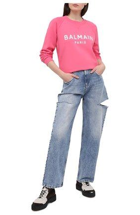 Женский хлопковый свитшот BALMAIN розового цвета, арт. VF13691/B002 | Фото 2