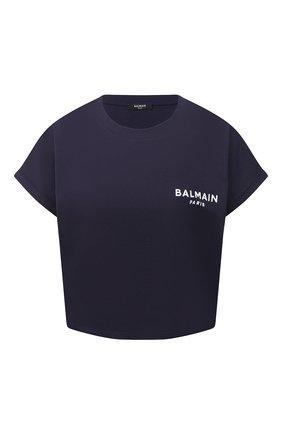 Женская хлопковая футболка BALMAIN темно-синего цвета, арт. VF11370/B013 | Фото 1