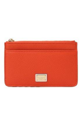 Женский кожаный футляр для кредитных карт DOLCE & GABBANA оранжевого цвета, арт. BI1261/AW737   Фото 1