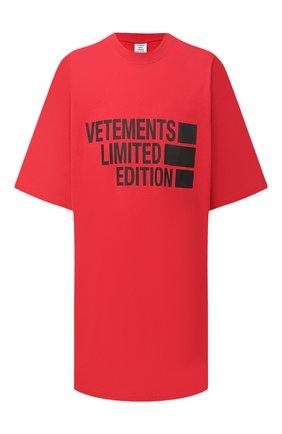 Женская хлопковая футболка VETEMENTS кораллового цвета, арт. UE51TR810R 1611/W | Фото 1