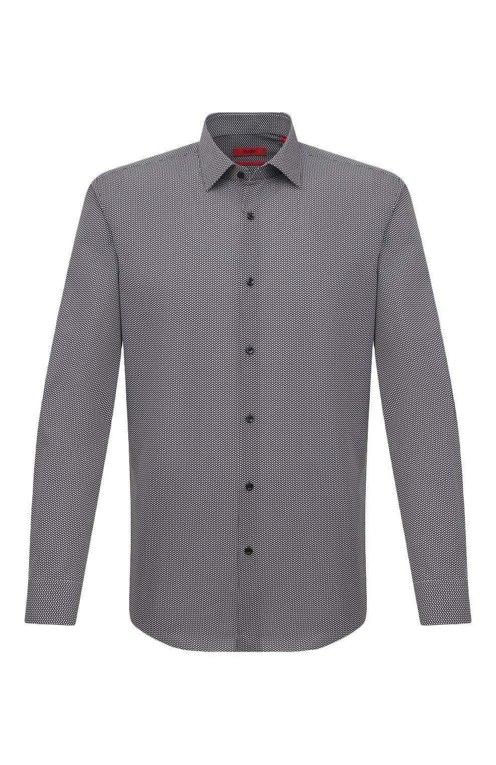 Мужская хлопковая сорочка HUGO черно-белого цвета, арт. 50443550 | Фото 1 (Манжеты: На пуговицах; Воротник: Кент; Рукава: Длинные; Длина (для топов): Стандартные; Принт: С принтом; Рубашки М: Slim Fit; Материал внешний: Хлопок; Стили: Классический; Случай: Формальный)