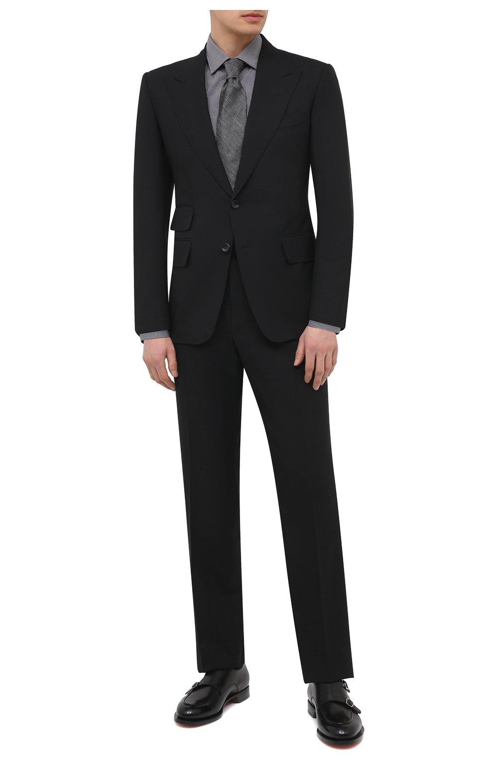 Мужская хлопковая сорочка HUGO черно-белого цвета, арт. 50443550 | Фото 2 (Манжеты: На пуговицах; Воротник: Кент; Рукава: Длинные; Длина (для топов): Стандартные; Принт: С принтом; Рубашки М: Slim Fit; Материал внешний: Хлопок; Стили: Классический; Случай: Формальный)