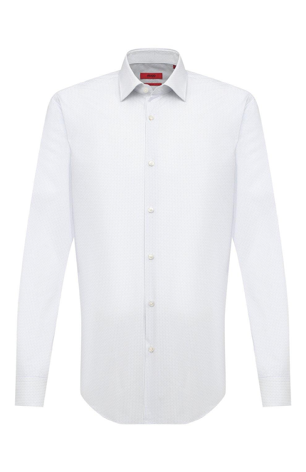 Мужская хлопковая сорочка HUGO белого цвета, арт. 50443550 | Фото 1 (Манжеты: На пуговицах; Принт: Клетка; Воротник: Кент; Рукава: Длинные; Длина (для топов): Стандартные; Рубашки М: Slim Fit; Материал внешний: Хлопок; Стили: Классический; Случай: Формальный)