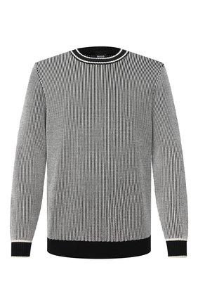 Мужской свитер из шерсти и хлопка BOSS черно-белого цвета, арт. 50442160   Фото 1