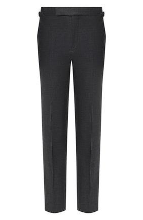 Мужские шерстяные брюки TOM FORD светло-серого цвета, арт. Q11R01/610043 | Фото 1 (Материал подклада: Купро; Материал внешний: Шерсть; Стили: Классический; Случай: Формальный; Длина (брюки, джинсы): Стандартные)