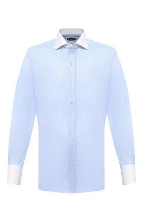 Мужская хлопковая сорочка TOM FORD голубого цвета, арт. QFT192/94SWAX | Фото 1 (Манжеты: На пуговицах; Рубашки М: Slim Fit; Длина (для топов): Стандартные; Материал внешний: Хлопок; Рукава: Длинные; Случай: Формальный; Стили: Классический; Принт: Однотонные; Воротник: Акула)