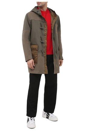 Мужская хлопковая парка VALENTINO хаки цвета, арт. VV3CJF5072V   Фото 2 (Рукава: Длинные; Стили: Кэжуэл; Кросс-КТ: Куртка; Материал внешний: Хлопок; Материал подклада: Синтетический материал; Длина (верхняя одежда): До середины бедра)