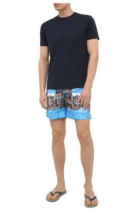 Мужские шлепанцы ORLEBAR BROWN темно-синего цвета, арт. 272322 | Фото 2 (Материал внешний: Резина; Материал внутренний: Текстиль)