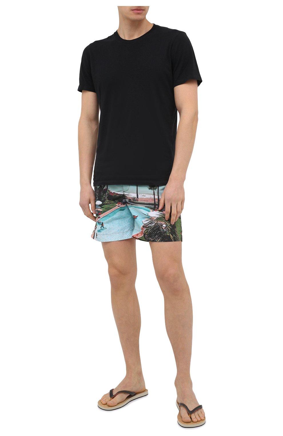 Мужские плавки-шорты ORLEBAR BROWN голубого цвета, арт. 273244   Фото 2 (Материал внешний: Синтетический материал; Принт: С принтом; Мужское Кросс-КТ: плавки-шорты)