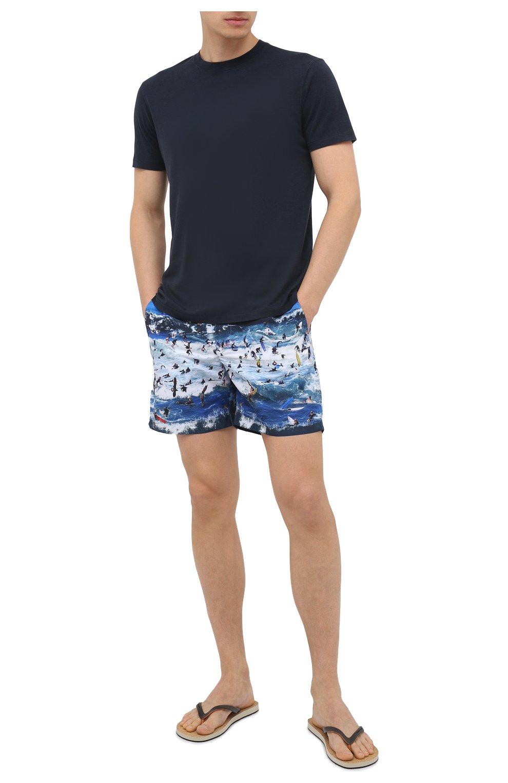 Мужские плавки-шорты ORLEBAR BROWN синего цвета, арт. 273243 | Фото 2 (Материал внешний: Синтетический материал; Принт: С принтом; Мужское Кросс-КТ: плавки-шорты)
