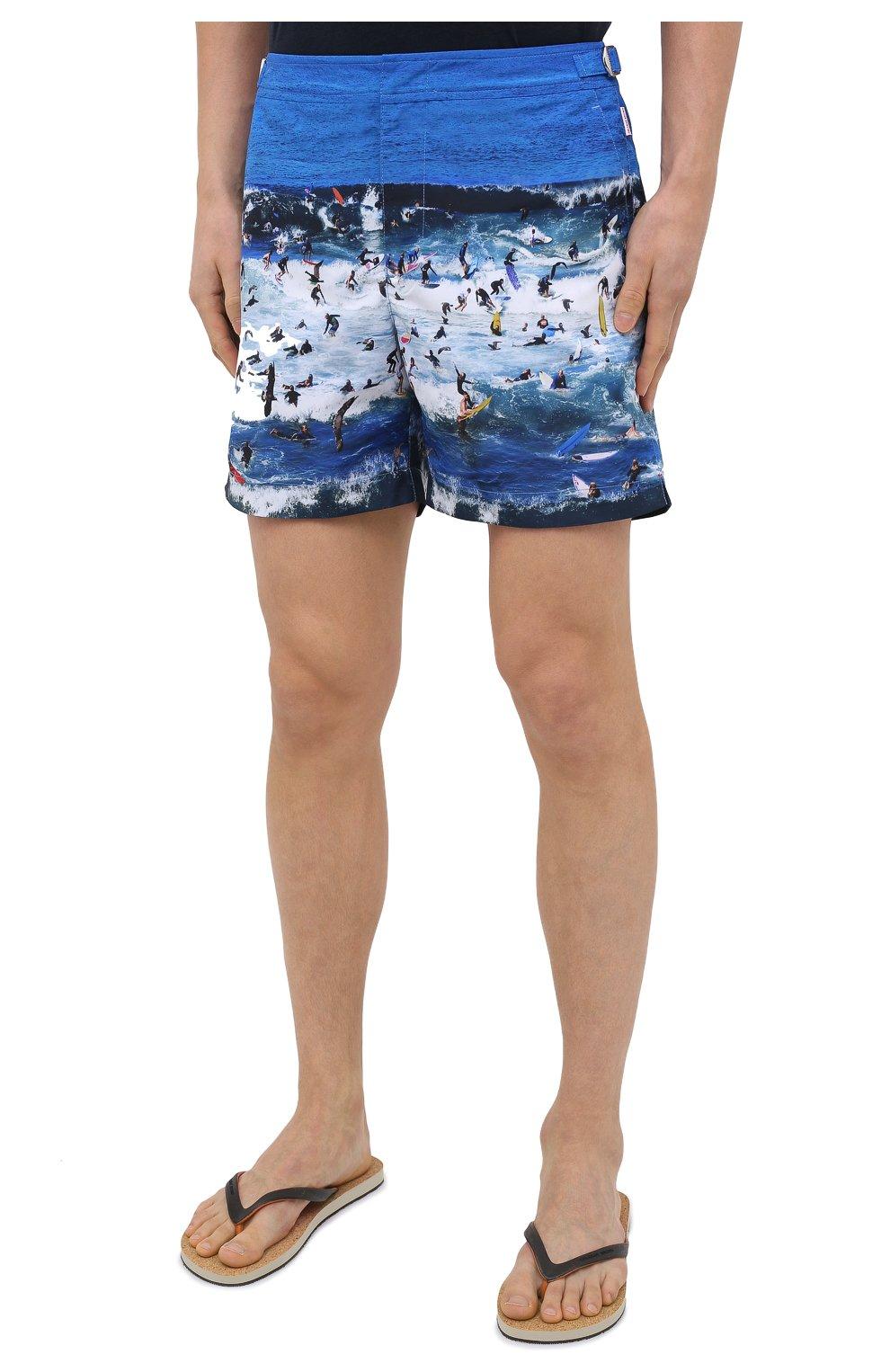 Мужские плавки-шорты ORLEBAR BROWN синего цвета, арт. 273243 | Фото 3 (Материал внешний: Синтетический материал; Принт: С принтом; Мужское Кросс-КТ: плавки-шорты)