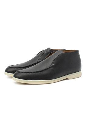Мужские кожаные ботинки open walk LORO PIANA темно-синего цвета, арт. FAL0319 | Фото 1