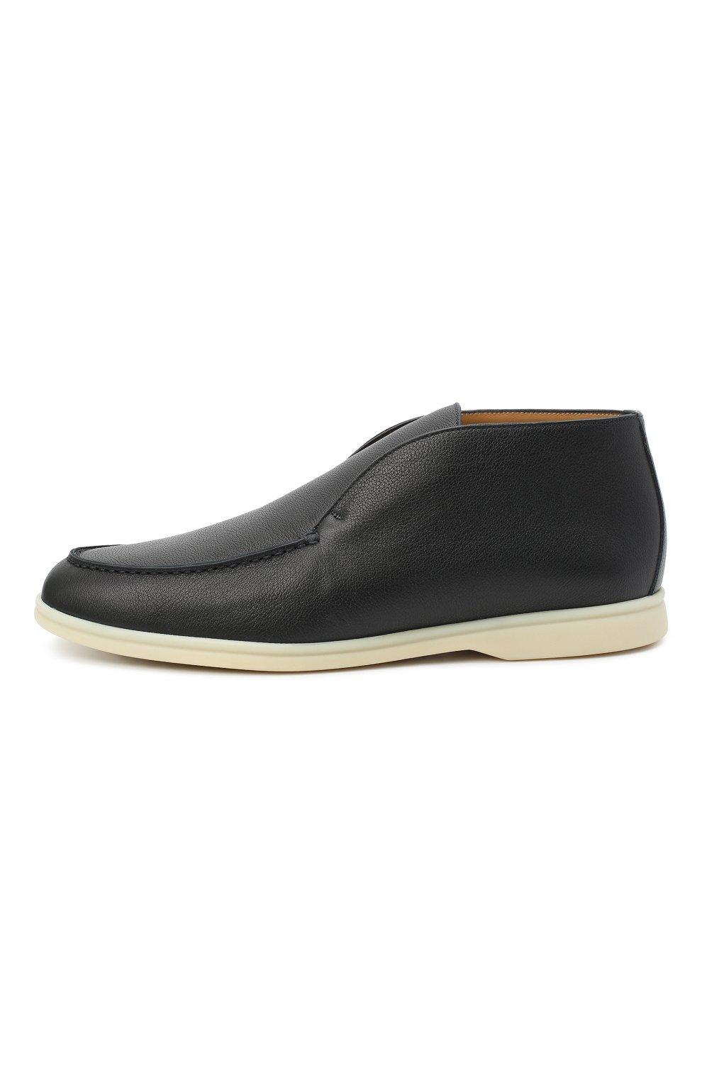 Мужские кожаные ботинки open walk LORO PIANA темно-синего цвета, арт. FAL0319   Фото 3