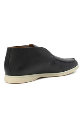 Мужские кожаные ботинки open walk LORO PIANA темно-синего цвета, арт. FAL0319   Фото 4