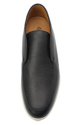 Мужские кожаные ботинки open walk LORO PIANA темно-синего цвета, арт. FAL0319   Фото 5