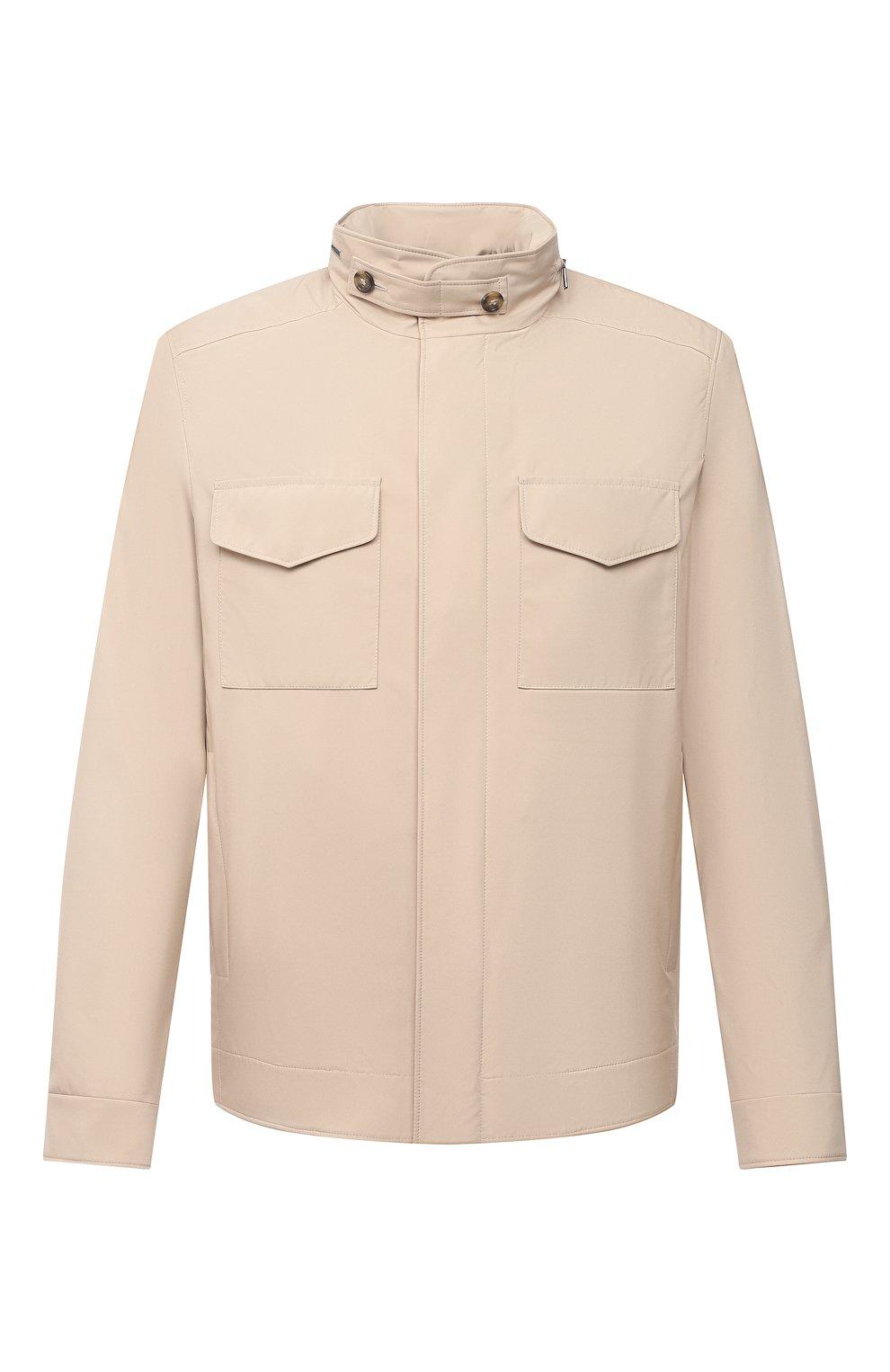 Мужская куртка LORO PIANA бежевого цвета, арт. FAL5139 | Фото 1 (Кросс-КТ: Куртка, Ветровка; Материал утеплителя: Шерсть; Рукава: Длинные; Материал внешний: Синтетический материал; Длина (верхняя одежда): Короткие; Стили: Кэжуэл)