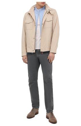 Мужская куртка LORO PIANA бежевого цвета, арт. FAL5139 | Фото 2 (Кросс-КТ: Куртка, Ветровка; Материал утеплителя: Шерсть; Рукава: Длинные; Материал внешний: Синтетический материал; Длина (верхняя одежда): Короткие; Стили: Кэжуэл)