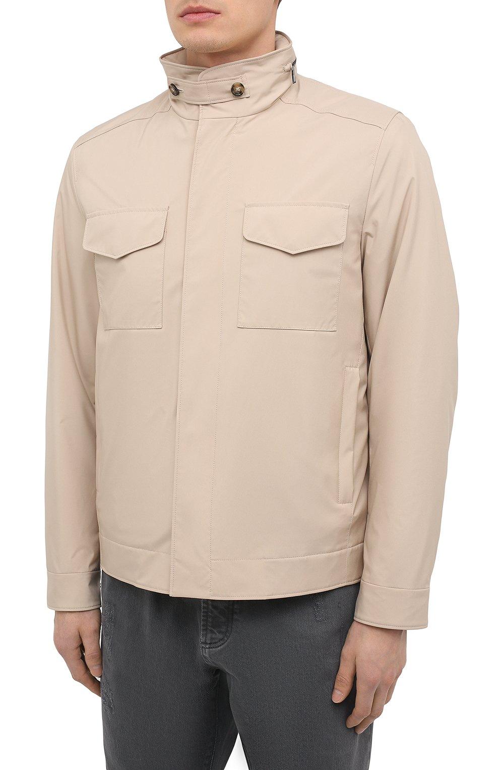 Мужская куртка LORO PIANA бежевого цвета, арт. FAL5139 | Фото 3 (Кросс-КТ: Куртка, Ветровка; Материал утеплителя: Шерсть; Рукава: Длинные; Материал внешний: Синтетический материал; Длина (верхняя одежда): Короткие; Стили: Кэжуэл)