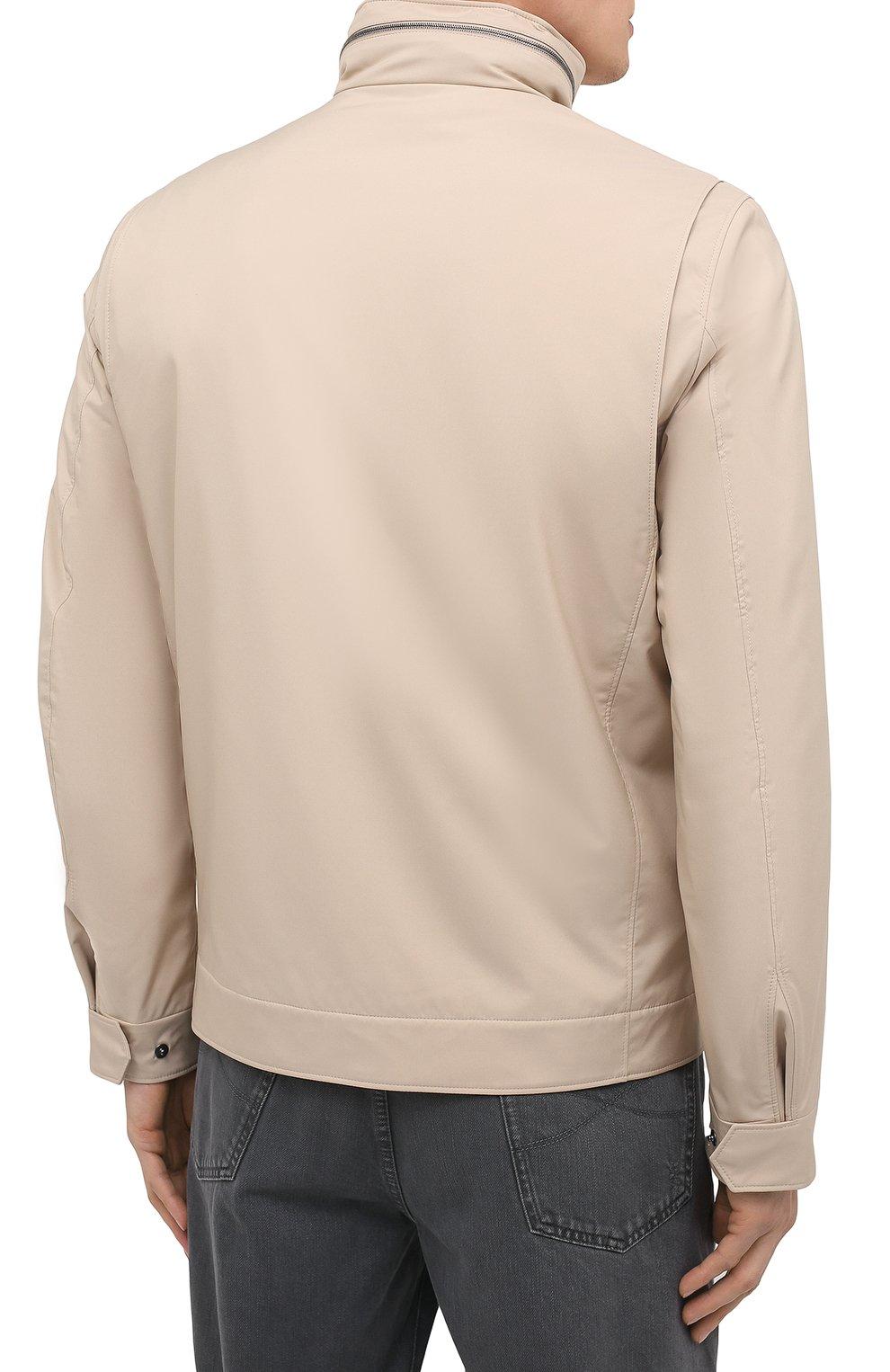 Мужская куртка LORO PIANA бежевого цвета, арт. FAL5139 | Фото 4 (Кросс-КТ: Куртка, Ветровка; Материал утеплителя: Шерсть; Рукава: Длинные; Материал внешний: Синтетический материал; Длина (верхняя одежда): Короткие; Стили: Кэжуэл)