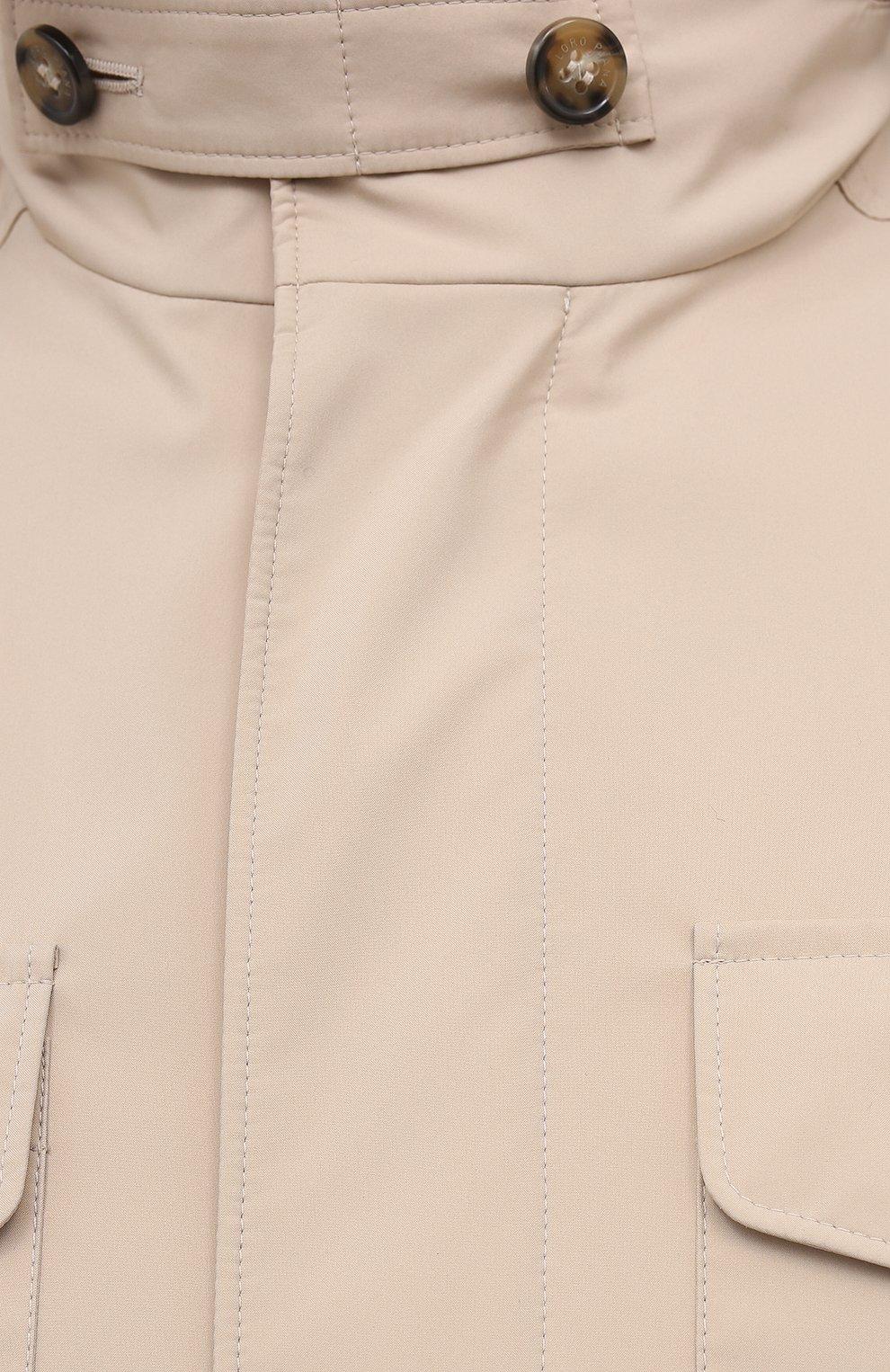 Мужская куртка LORO PIANA бежевого цвета, арт. FAL5139 | Фото 5 (Кросс-КТ: Куртка, Ветровка; Материал утеплителя: Шерсть; Рукава: Длинные; Материал внешний: Синтетический материал; Длина (верхняя одежда): Короткие; Стили: Кэжуэл)