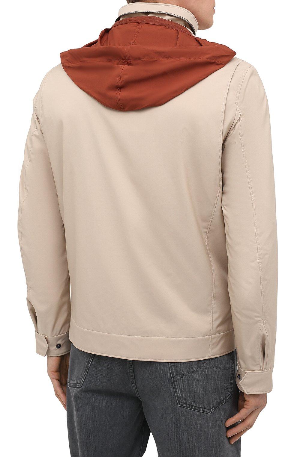 Мужская куртка LORO PIANA бежевого цвета, арт. FAL5139 | Фото 6 (Кросс-КТ: Куртка, Ветровка; Материал утеплителя: Шерсть; Рукава: Длинные; Материал внешний: Синтетический материал; Длина (верхняя одежда): Короткие; Стили: Кэжуэл)