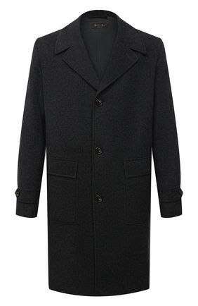 Мужской кашемировое пальто LORO PIANA темно-серого цвета, арт. FAL3488 | Фото 1 (Мужское Кросс-КТ: пальто-верхняя одежда; Длина (верхняя одежда): До колена; Стили: Классический; Материал внешний: Шерсть, Кашемир; Материал подклада: Синтетический материал; Рукава: Длинные)
