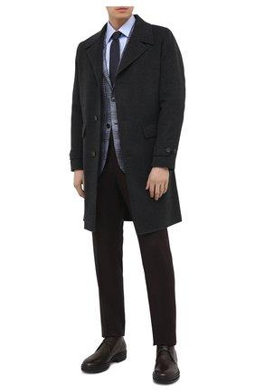 Мужской кашемировое пальто LORO PIANA темно-серого цвета, арт. FAL3488 | Фото 2 (Мужское Кросс-КТ: пальто-верхняя одежда; Длина (верхняя одежда): До колена; Стили: Классический; Материал внешний: Шерсть, Кашемир; Материал подклада: Синтетический материал; Рукава: Длинные)