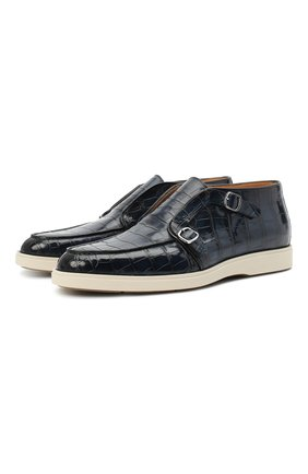 Мужские ботинки из кожи аллигатора SANTONI PRECIOUS темно-синего цвета, арт. MPDT17189PCUECW0U59/AMIS | Фото 1