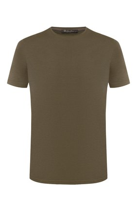 Мужская футболка из шелка и хлопка LORO PIANA хаки цвета, арт. FAF6128   Фото 1