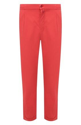 Мужские брюки KITON красного цвета, арт. UFP1LACJ07T43 | Фото 1 (Силуэт М (брюки): Чиносы; Стили: Кэжуэл; Материал внешний: Хлопок, Лиоцелл; Длина (брюки, джинсы): Стандартные; Случай: Повседневный)